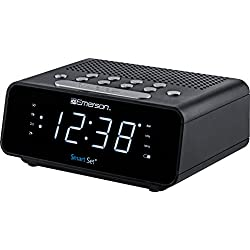 "Emerson ER100101 SmartSet Alarm Clock Radio with AM/FM Radio, Dimmer, Sleep Time and .9"" White LED Display"