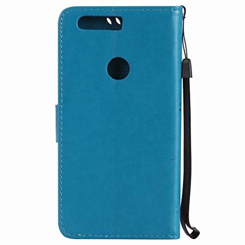 Yiizy Huawei Honor 8 Custodia Cover, Alberi Disegno Design Sottile Flip Portafoglio PU Pelle Cuoio Copertura Shell Case Slot Schede Cavalletto Stile Libro Bumper Protettivo Borsa (Blu)