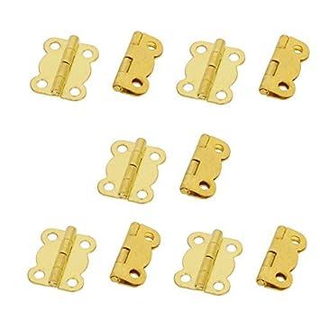 eDealMax cosmética caja de la caja de madera de metal plegable Butt Bisagras tonos oro 10pcs