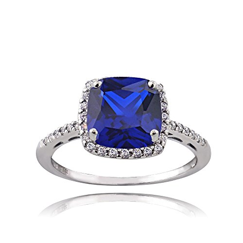 (Sterling Silver Created Blue Sapphire and Cubic Zirconia Cushion-Cut Halo Ring, Size 8)