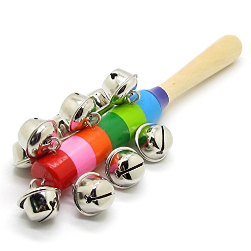 Colorful Wooden Jingle Hand Metal Bells For Kids Baby Cradle Music Shake - Infant Cradle Metal