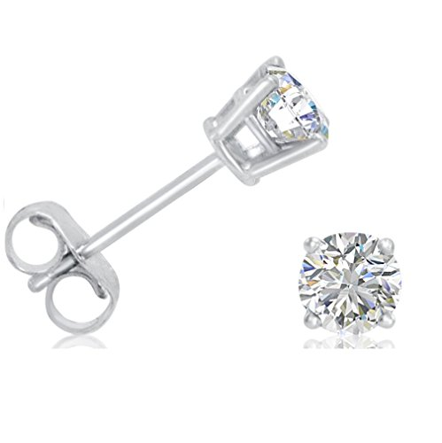 AGS Certified 1/2ct tw.Round Diamond Stud Earrings set in 14K White - Diamond Earrings Gold Solitaire