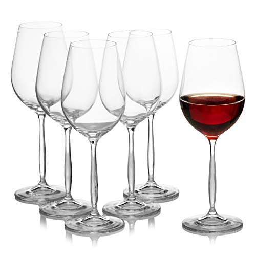 Large Huge Red Wine Glasses Set of 6, Burgundy, Bordeaux, Merlot, Pinot Noir - Crystal Glass by Crystalex - 15.2 Ounces / 450 Milliliters