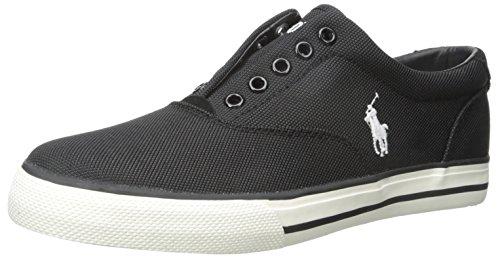 Polo Ralph Lauren Men's Vito Pique Nylon Fashion Sneaker, Black, 10 D (Polo Shoes Vito)