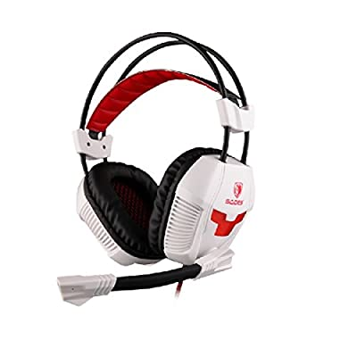 Bargz Headsets - A30 Gaming Headphone USB Stereo 7.1 Surround with Micophone -Built-in 360° Noise Reduction - White Color