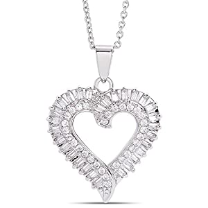 Victoria Townsend Cubic Zirconia Open Heart Pendant Necklace (18″ Chain)