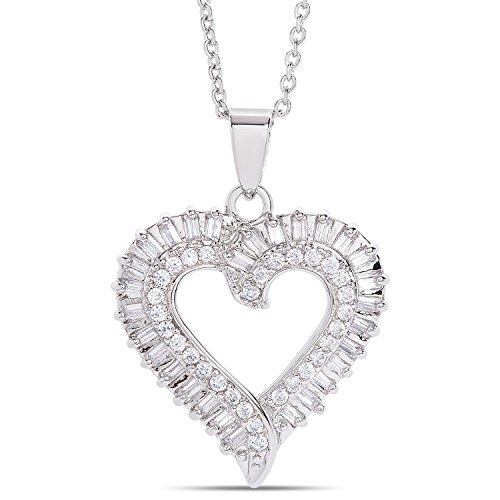 20mm Open Heart Ring - Dolce Giavonna Cubic Zirconia Open Heart Pendant Necklace (18