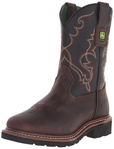 John Deere JD3340 Pull-On Boot (Big Kid), Vintage Tan Leather/Black, 3.5 M US Big Kid