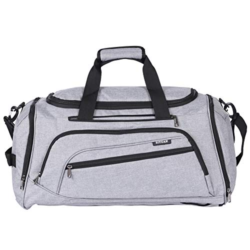SIYUAN Men Sports Gym Bag, Mens Womens Fitness Bag Athletic Duffel Bag with Shoes Compartment,Gray,Large