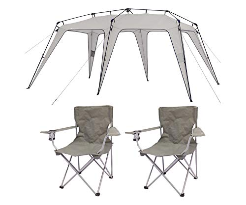 OZARK TRAIL 11′ x 15′ Instant Shelter Bundle Quad Folding Camp Chair 2-Pack