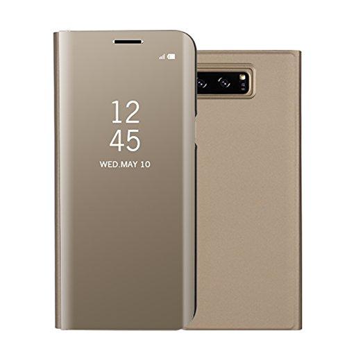 Funda Samsung Galaxy Note 8, Visión Clara Pie Smart Cover Soporte Mirror Protección Completa Rígida Borde ,Sunroyal Multifuncional Cubierta del espejo Permite ver Claramente la Clear Standing Flip Cov Oro