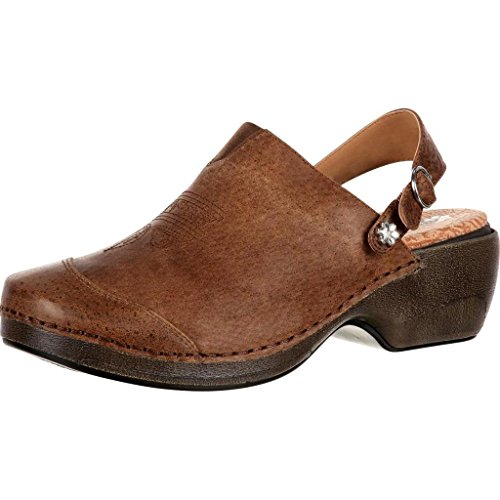 4EurSole Work Shoe Women Western Embellished Clog Brown RKYH045