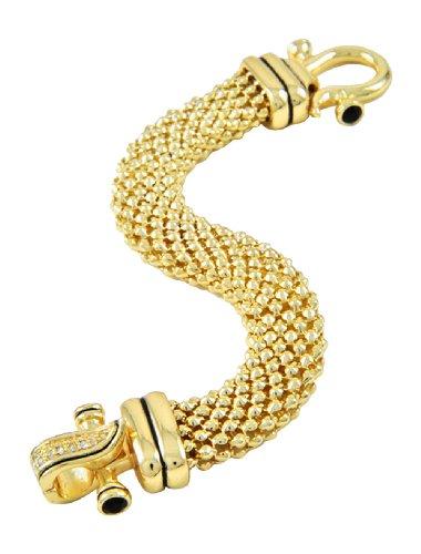 Fancy Goldtone Thick Rhinestone Magnetic Closure Celebrity Inspired Bracelet, 7.625