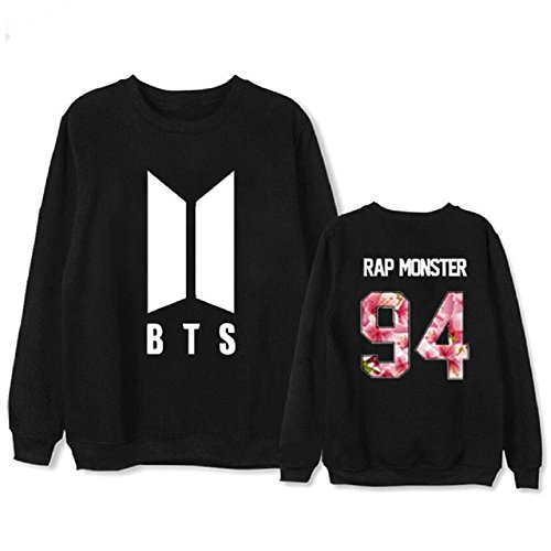mainlead Kpop BTS New Logo Bangtan Boys Hoodie Bon Voyage S2 Sweatershirt Army Athleisure(Rap Monster, Small, Black)