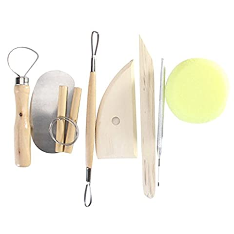 8Pcs Wood and Metal Pottery Clay Modeling Tool Set--Good Pottery Clay Design Flexibility (Strumenti Filo)