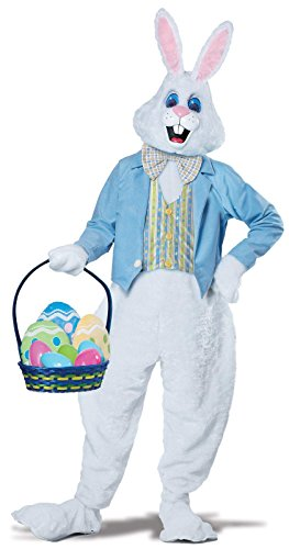 California Costumes Men's Deluxe Easter Bunny, White/Blue, Large/X-Large