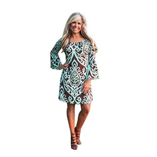 Vintage Dress,Han Shi Womens Off Shoulder Long Sleeve Floral Party Print Beach Mini Skirts (L, Green)