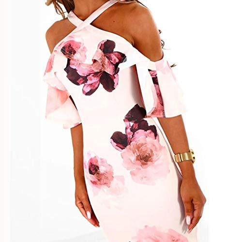 Pink Shoulder Off Sundress Dress Womens Cross Party Printing Falda NREALY Dress Evening PXw6S