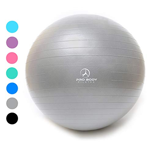 Exercise Ball - Professional Grade Anti-Burst Yoga Fitness, Balance Ball for Pilates, Yoga, Stability Training and Physical Therapy (Silver, 55cm (No Pump)) (Best Swiss Ball Ab Exercises)