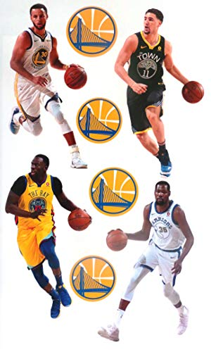 "Golden State Warriors FATHEAD Team Set 4 Players + 4 Logo Official NBA Vinyl Wall Graphics - Each Player 7"" INCH"