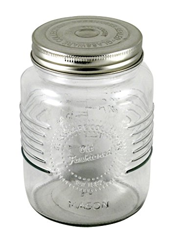 Grant Howard Old Fashioned Embossed Preserve Glass Jar, 34 oz. -