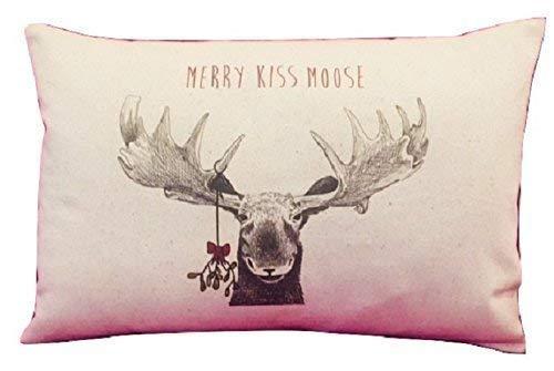 Merry Kiss Moose Christmas Pillow 12x18 Inch ()