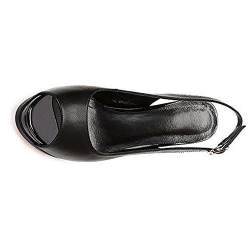 de Negro AnchengKAO de Prueba de Color de EU Zapatos 1 Mujer a Agua Alto Sandalias Tamaño Tacón Boca de 3 Pescado Rosado 39 0n0wOBqr
