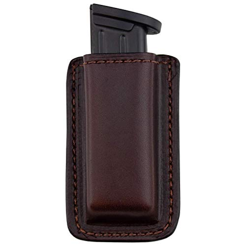 Relentless Tactical Leather Magazine Holder | Made in USA | Sizes to fit virtually Any 9mm.40.45 or .380 Pistol Mag | Single or Double Stack | IWB or OWB Double Stack Brown