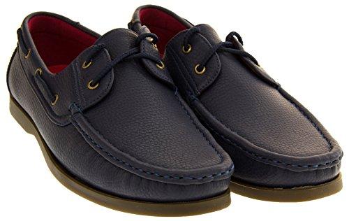 Shoreside Hombre Sintético barco zapato Azul Marino (suela Marrón)