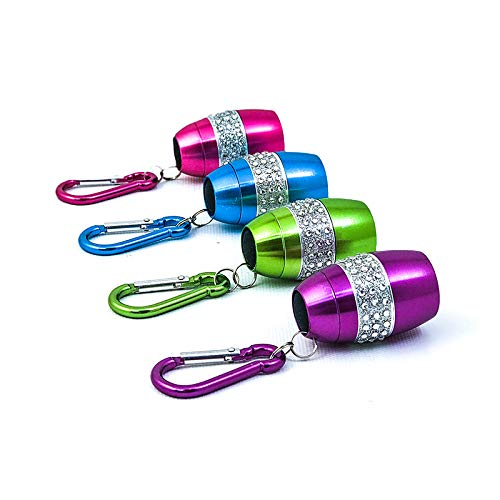 4 Pack Flipo Mini Egg Shaped BLING Keychain Flashlight, Super Bright COB LED Torch, Portable, Water & Shock Resistant; Assorted Colors, Batteries included