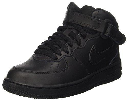 Nike Force 1 Mid (Ps), Unisex Kid's High-Top, Multi (Black/Black), 1 UK (33 EU) (Boys Nike High Top Shoes)
