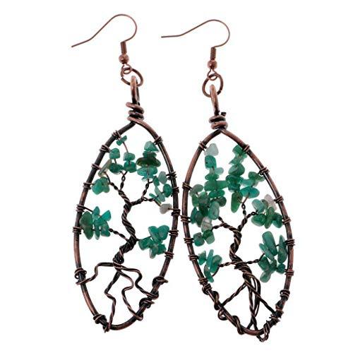 Natural Amethyst Quartz Peridot Tree Earrings Bronze Ear Dangle Crystal Ear Hook Necklace Jewelry Crafting Key Chain Bracelet Pendants Accessories Best  Color - Green