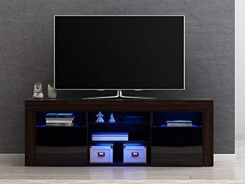 Mueble de TV Moderno de Alto Brillo con aparador y luz LED RGB ...