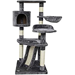 XLO Cat Kitten Tree Sisal-Covered Scratching Posts,Hammock Condo Climbing Pets Tower House Fuiniture Plush Perches (Color : Gray)