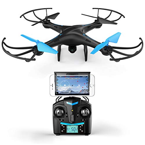 Drones with Camera for Adults and Kids – U45W Blue Jay WiFi FPV Drone Quadcopter with 720p VR HD Camera and 3 Batteries