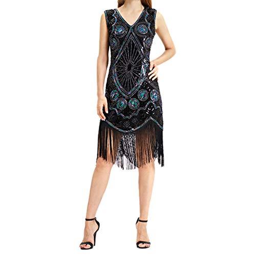 Todaies Women Vintage 1920s Bead Fringe Sequin Lace Party Flapper Cocktail Prom Dress (Paris Fringe Hilton)