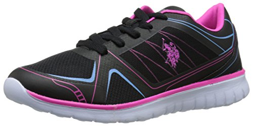 U.S. Polo Assn.(Women's) Margie9 Fashion Sneaker, Black/Fuchsia/Blue, 8.5 M US