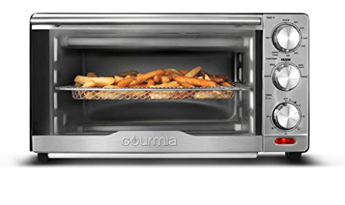 Gourmia GTF7350 6-in-1 Multi-function, Stainless Steel Air Fryer Oven – 6 Cooking Functions – Fry Basket, Oven Rack, Baking Pan & Crumb Tray, Included + Recipe Book