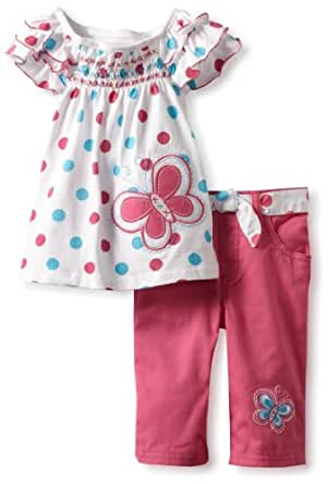 Young Hearts Little Girls' 2 Piece Polka Dot Butterfly Twill Capri Set, White, 3T