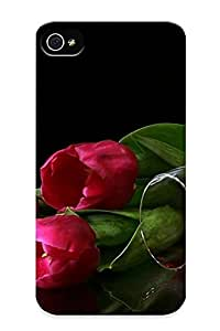 Case Provided For Iphone 4/4s Protector Case Pink Tulips And Red Wine Phone Cover With Appearance