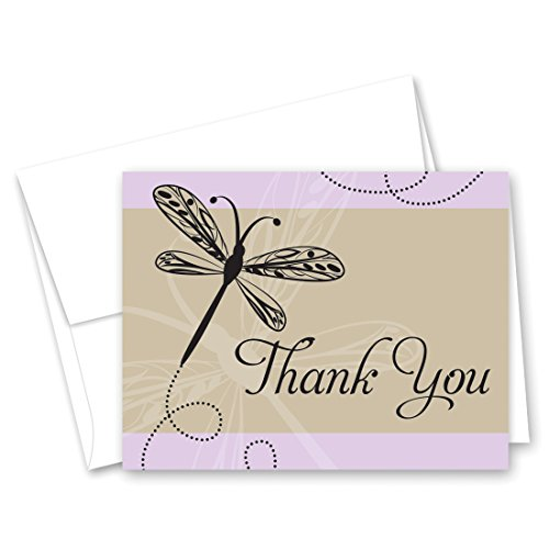 50 Playful Dragonfly Thank You Cards (Lavender)