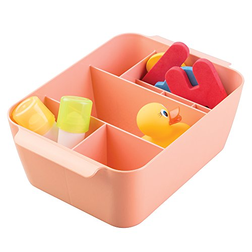 Storage Organizer Bin for Medicine, Thermometer, Nasal Aspirator, Washcloths - Coral Pink (Metro 8 Bottle Wall)