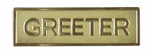 Greeter Identification Badge - Goldtone Metal - Safety Pin Clasp - (Package of 1)