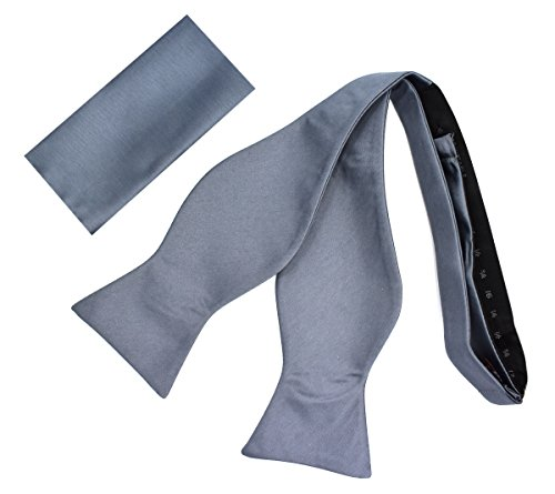 Self Bow-Tie Set (Solid-Charcoal)-L - Exclusive Silk Bow Tie