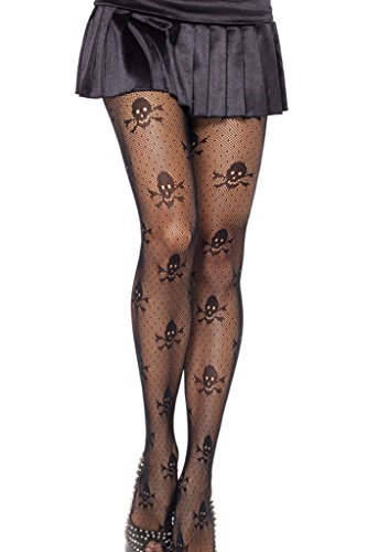 FIYOTE Women's Net Skull Stretch Pantyhose (One Size, Black) for $<!--$7.99-->