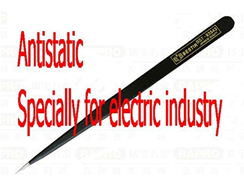 Black Industrial Tweezers | Anti-Static, Anti-Magnetic | High Precision | 125Mm 5&Quot by BATOP (Image #1)