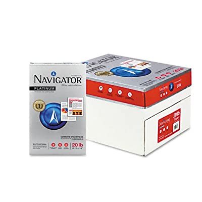 Navigator : Platinum Office Paper, 99 Brightness, 20lb, Legal, White, 5,000 Sheets -:- Sold as 2 Packs of - 10 - / - Total of 20 Each