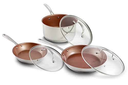 New Nuwave 6 Pc Non Stick Ceramic Cookware Set Oven Safe