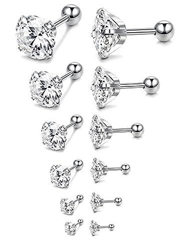 JOERICA 18G 6 Pairs Stud Earrings for Men Women Ear Piercing Silver-tone - Ear Piercing Stud