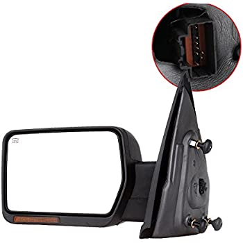 SCITOO Towing Mirror, fit Ford Exterior Accessories Mirror fit 2007-2014 Ford F-150 Truck with Amber Turn Signal and Puddle Light Heated Power Controlling and Manual Folding (Driver Side)